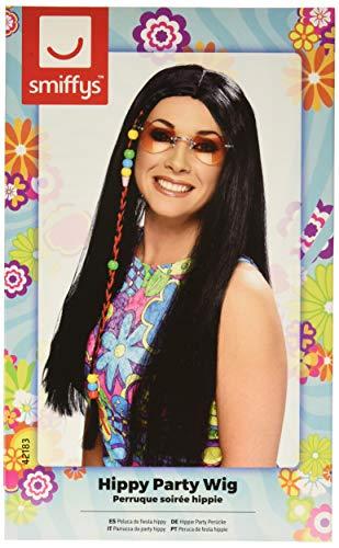 Smiffys, Damen Hippie Party Perücke mit bunten Perlen, One Size, Schwarz, 42183