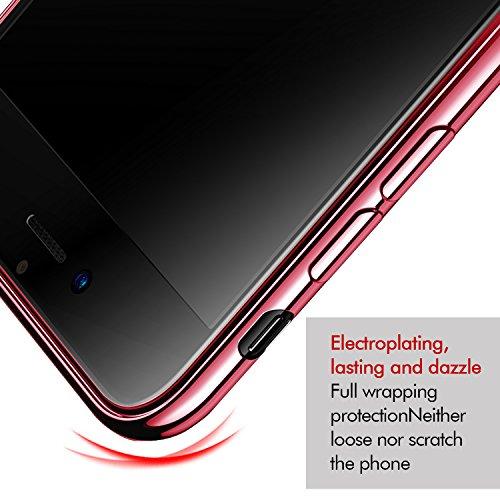 iPhone 8 Hülle, iPhone 7 Hülle, KKtick Schutzhülle Apple iPhone 8 Kratzfeste Plating TPU Bumper Case [Ultra Slim] Silikonhülle Tasche iPhone 7 Rutschfeste Handyhülle für iPhone 8 Case Cover- Schwarz Rose Gold
