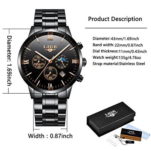b7bd14f0c9 Orologi da uomo LIGE in acciaio inox nero classico di lusso orologi ...
