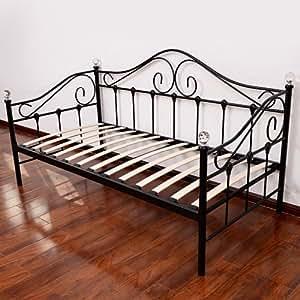canap lit banquette divan en m tal 3 places 90x190cm. Black Bedroom Furniture Sets. Home Design Ideas