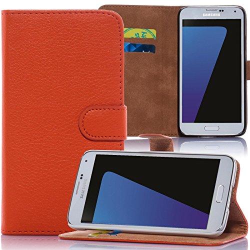 Numerva HTC Desire 310 Hülle, Schutzhülle [Bookstyle Handytasche Standfunktion, Kartenfach] PU Leder Tasche für HTC Desire 310 Wallet Case [Orange]