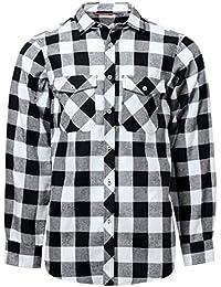 J.VER Hombre Camisas Casuales Ajuste Regular Algodón Manga Larga Camisas a  Cuadros Estudiante 4ad8116dba18