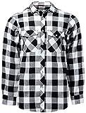 J.VER Herren Hemd Kariertes Freizeithemd Normale Passform Lange Ärmel Flanellhemden - Farbe:Weiß&schwarz, Größe:EU-XXXXX-Large