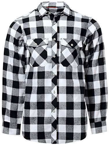 J.VER Hombre Camisas Casuales Ajuste Regular Algodón Manga Larga Camisas a Cuadros Estudiante - Color:Blanco y Negro, tamaño:EU-Large