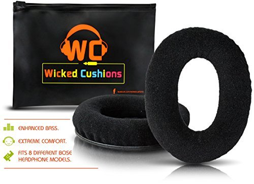 Bose Replacement Ear Pads Kit By Wicked Cushions - Compatible with Quietcomfort 2 / Quiet Comfort 15 / QC 25 / QC 35 / Ae2 / Ae2i / Ae2w / SoundTrue / Sound Link ( Around-Ear Only ) | Black