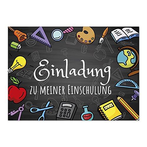 12 Einladungskarten Einschulung mit Umschlag/Bunte Schulsachen auf Tafel-Look/Einladung 1. Schultag in der Schule/2-seitige Karte