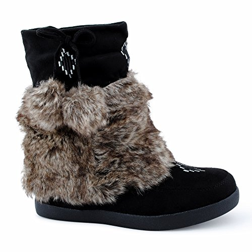 be4e3243bfc6bb Damen Stiefeletten Stiefel Fransen Blockabsatz Kunstfell Schlupf Warm  Gefüttert Boots VeloursOptik Mokkasins Schuhe Schwarz