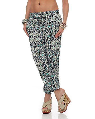 M2K - Damen Hose All Over Print Freizeit Strand Yoga Sommerhose Jegging (PM8055) grün One Size: (36-40)