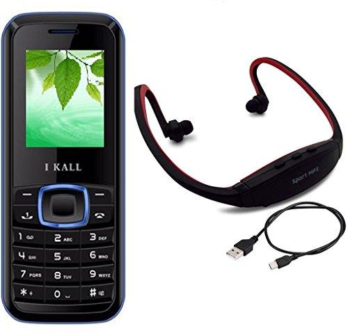 I KALL K19 Blue Dual Sim mobile with neckband