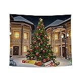 ODJOY-FAN Weihnachten Kunst Zuhause Wand Hängend Tapisserie Weihnachtsbaum Pfirsich Leder Stoff Tapisserie Wand Dekor Wandbilder Ornamentik (150x130 cm)(C,1 PC)