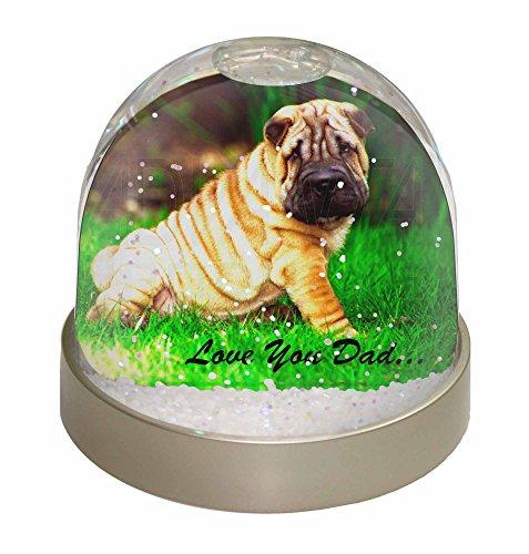 Pei Dome (Shar-Pei Dog 'Love You Dad' Schneekugel Globus Wasserball Tier Weihnachtsgeschen)
