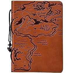Oyedens Estilo Vintage NáUtico Libreta Cuaderno Agenda Diario Hoja Cuero PU Verde Oscuro Para Estudiante (Caqui)
