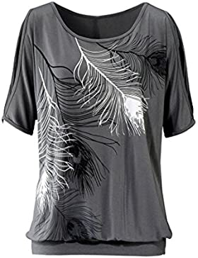 OverDose Las mujeres Off pluma del hombro manga corta blusa superior del puente camiseta de la camisa