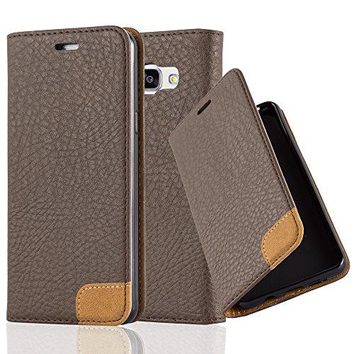 Preisvergleich Produktbild Cadorabo Hülle für Samsung Galaxy A5 2016 (6) - Hülle in ERD BRAUN – Handyhülle mit Standfunktion,  Kartenfach und Textil-Patch - Case Cover Schutzhülle Etui Tasche Book Klapp Style