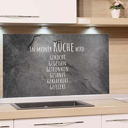 GRAZDesign Glasrückwand Küche Steinoptik, Rückwand Küche lustiger Spruch, Küchen Spritzschutz Herd Granitoptik, Küchenrückwand Glas Familienspruch / 60x60cm