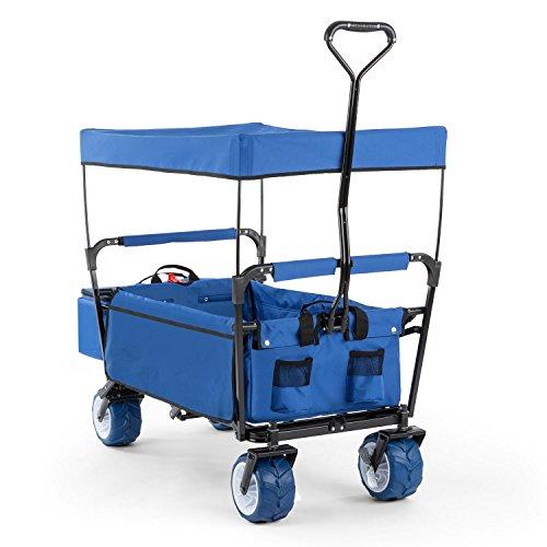 Waldbeck The Blue Supreme Bollerwagen Handwagen Transport-Wagen (Sonnendach, Kühltasche für Getränke, faltbar, platzsparend, witterungsbeständig) blau