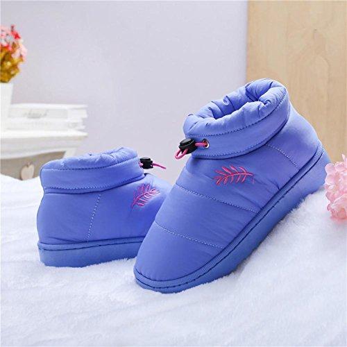 LDMB Winter, warm All-Baumwolle Baumwolle sich Männer und Frauen Hausschuhe Pantoffeln Purple
