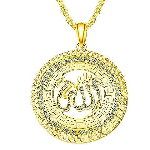 Fengteng Allah Islam Muslim Anhänger Islamische Muslimischer Halskette Gold Farbe Strass Münze Rund Damen Schmuck