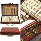 SL Portable Retro Mahjong Box Rare Chinese 144 Mah-Jong Set Bamboo Piece