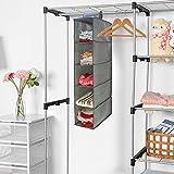 #10: Hokipo Non-Wooven Cloth Hanging Storage Wardrobe Organizer, 5 Shelves, Grey