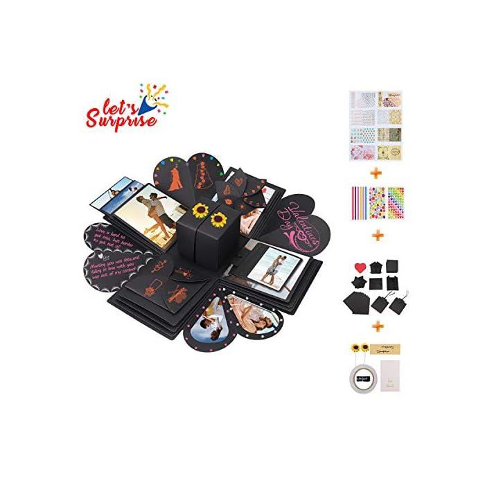 Qhui Kreative Explosionsbox, DIY Überraschungsbox, Personalisierte Geschenkbox Fotoalbum, Geschenk Jahrestag…