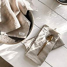 Servietten Stoff Natur Leinenservietten beige Leinen Servietten Lova beige mit Pompons Stoffservietten boho 2er Set
