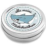 Milchzahndose | Haifisch Henri | für Mädchen und Jungen | Geschenk zur Einschulung, Taufe, Geburt | Zahnfee Dose aus Metall für Wackelzahn (Blau)