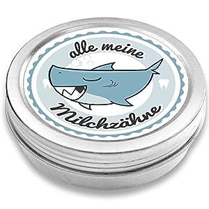 FANS & Friends Milchzahndose Jungen & Mädchen, Hai, mit Gratis e-Book, Zahnfee Geschenke Jungen, Dose für Milchzähne…