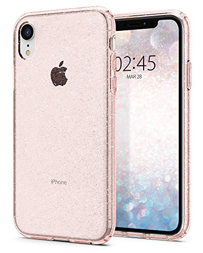 Spigen [Liquid Crystal Glitter Kompatibel mit iPhone XR Hülle, Glitzer Design Transparent TPU Silikon Handyhülle Durchsichtige Schutzhülle Case (Rose Quartz)