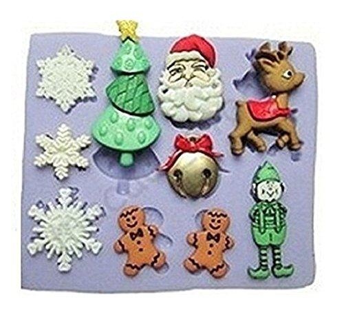 EuropeSiliconeMoldMaker Moule en silicone pour usage artisanal représentant des accessoires évoquant noël (flocons de neige, sapin de noël, visage de père-noël, renne, elfe, bonhomme de neige, cadeau), de très faibles épaisseurs. Adapté à la reproduction d'objets en savon, plâtre, résine, glace, céramique, argile, cire et autres matériaux pour coulage, pour décoration de bonbonnières par exemple - Thème : anges, ailes, noël