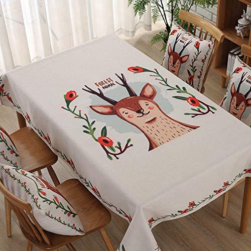 Original Japonais de Bande dessinée littéraire Impression épais Coton Lin Art Table Tissu Anti-Huile Tache café carré Nappe Couverture Serviette éponge-E 140x180cm(55x71inch)