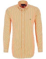 Polo by ralph lauren chemise pour homme orange/blanc rayé, vert pony coupe ajustée