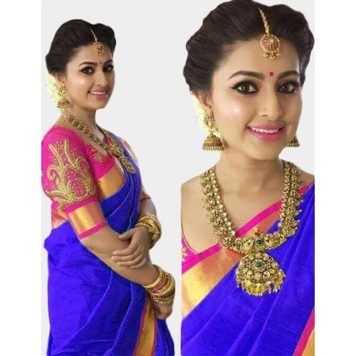 Ruchika Fashion Women Embroidered cotton silk Sarees With Blouse piece For Party wear,Wedding,Casual sarees (blue)