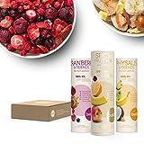 Buah Gefriergetrocknete Früchte, Smoothie-Set mit gefriergetrockneten Erdbeeren, Cranberry und weiterem Superfood - 3 Mischungen zw.16g-32g