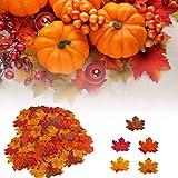 HENMI Ahornblatt, künstliche Ahornblatt,ünstliche Herbst-Ahornblätter Ahornblatt Für Halloween,Thanksgiving Day,Hochzeit und Partei Dekorationen-500 Stück - 5