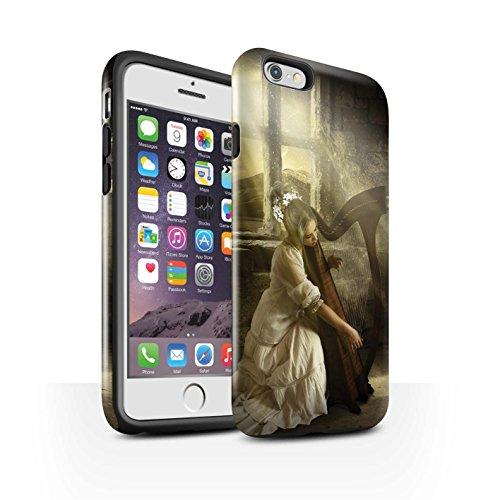 Officiel Elena Dudina Coque / Brillant Robuste Antichoc Etui pour Apple iPhone 6 / Chanson de Fleurs Design / Réconfort Musique Collection Harpe/Harpiste