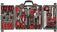 مجموعة أدوات منزلية مكونة من 71 قطعة DT0204 من Apollo Tools مع معظم الأدوات اليدوية في حقيبة التخزين، أحمر
