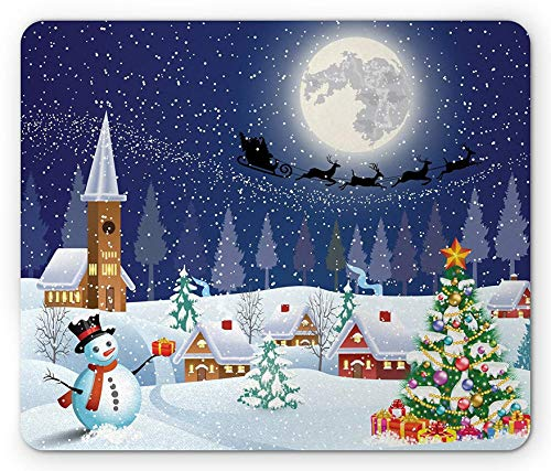 Christmas Mouse Pad, Winter Season Snowman Xmas Tree Santa Sleigh Moon Present Boxes Snow and Stars, Rectangle Mousepad, Standard...
