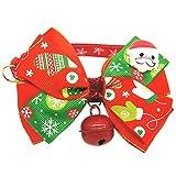 Jannyshop Weihnachten Hundehalsbänder Kostüm Chrismas Halsband mit große Schleife und Glocke Weiche Verstellbare Halskette Geschenke für Haustier Hunde Katzen in 2 Typen S/M/L/XL