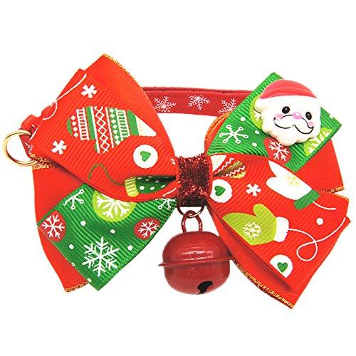 n Hundehalsbänder Kostüm Chrismas Halsband mit große Schleife und Glocke Weiche Verstellbare Halskette Geschenke für Haustier Hunde Katzen in 2 Typen S/M/L/XL ()