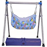 DYRECTDEALS Indian Style Semi Folding Stainless Steel Baby Cradle With Cotton Hammock (Blue, 7278)