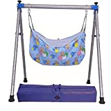 DYRECTDEALS Indian Style semi Folding Stainless Steel Ghodiyu (Baby Cradle) with Cotton Hammock
