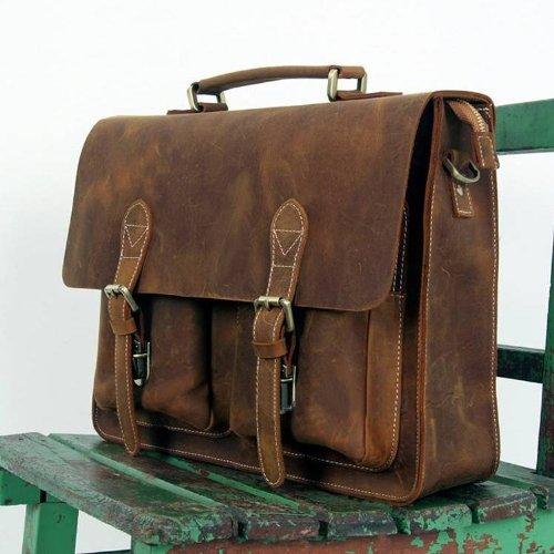 High Quality Handmade Bags Herren-Aktentasche / Laptoptasche / Umhängetasche, Leder, handgemacht, Farbe Dark Coffee, 39 x 7,6 x 29 cm braun