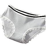 Mohanbali Thread Ms. Baumwoll-Unterwäsche, niedrige Taille, Spitze, Mädchen, sexy Stretch, hellgraue Unterhose, L, hellgrau