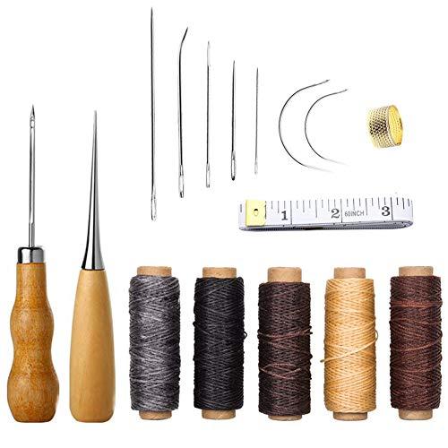 fortspang Leder-Handwerkswerkzeuge, 16-teilig, Nadel- und Faden-Set, mit Handnähnadeln, Bohren, Asche, gewachstes Faden und Fingerhut für DIY Nähen und Basteln