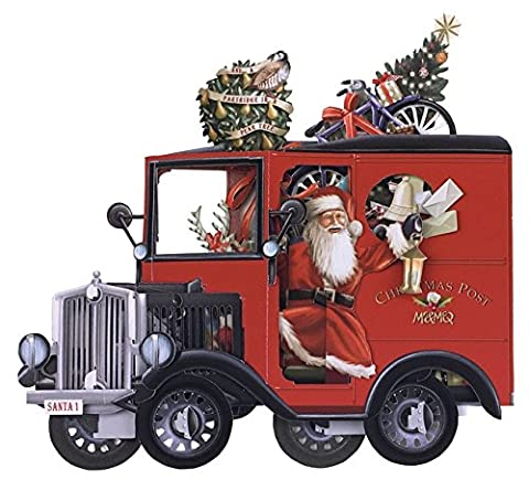 Papier d 'Art Weihnachtskarten–Santa Postboten–3D Pop-Up-Karte