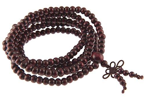 Rosenholz Mala Buddhistische Gebetskette Rosenkranz Holz Armband Kette 85 cm (Holz Rosenkranz Armband)