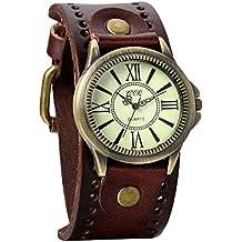 Avaner Reloj de Moda Retro Vintage de Cuero Marron, Números Romanos Reloj de Pulsera Ajustable Con Hebilla, Bronce Reloj Analogico Para Hombre Mujer, Regalo de Navidad