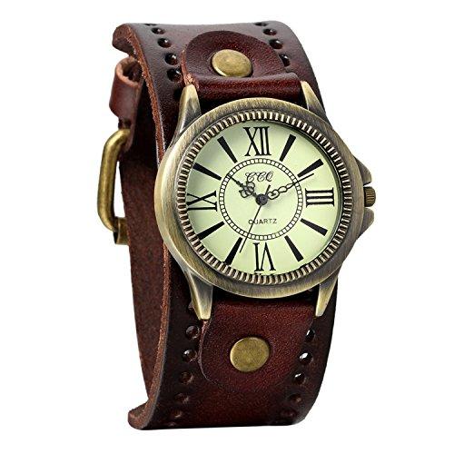 Montre Femme Montre Homme Avaner Montre Bracelet à Quartz Pointeur Vintage --Affichage Analogique--Bracelet en PU Cuir Bracelet Montre Femme Marron