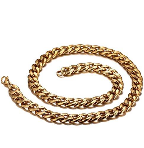 XYLUCKY Edelstahl Halskette Männer dominant Persönlichkeit 18K gold plated (Gold-plated Jade Und Diamant-ring)
